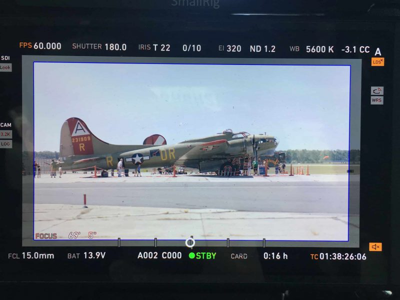 B17 bomber plane in monitors